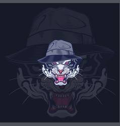 stylist head tiger in blue navy background vector image