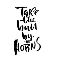 Take the bull by the horns hand drawn lettering vector