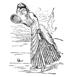 Tennis woman vintage vector