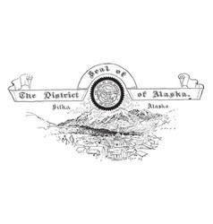 The united states seal of the district of alaska vector