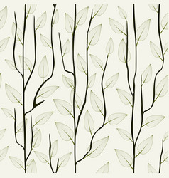 thin delicate tree branch with leaves seamless vector image