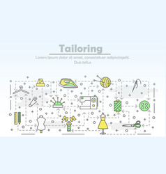 thin line art tailoring poster banner vector image