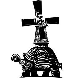 turtle windmill vector image