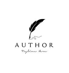 Vintage feather pen handwriting logo design vector