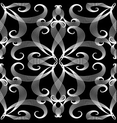vintage line art tracery floral seamless pattern vector image