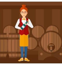 Waitress holding bottle of wine vector