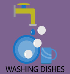 Washing dishes design flat vector image