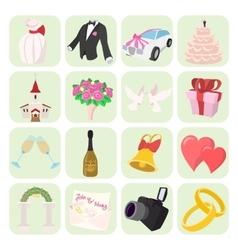 Wedding cartoon icons set vector image