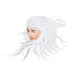 White hair girl vector image