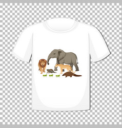 wild animal group design on t-shirt isolated vector image