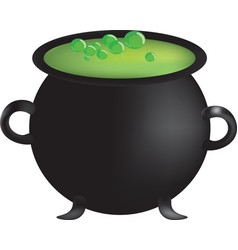 witch cauldron with hot green potion vector image