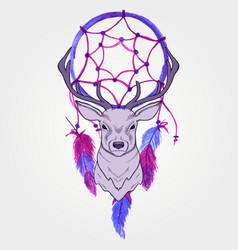 with deer and watercolor dream catcher vector image