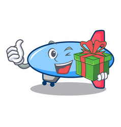 with gift zeppelin mascot cartoon style vector image