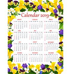 Year calendar template with spring flower frame vector