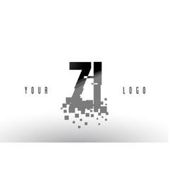 Zi z i pixel letter logo with digital shattered vector