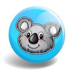 Cute koala bear head on badge vector image vector image