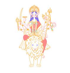 icon of goddess durga on a lion vector image vector image