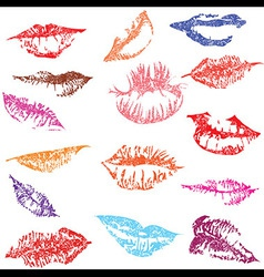Lip print track set in tender kiss Love vector image vector image
