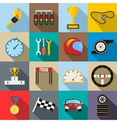 Race icons set flat style vector image vector image