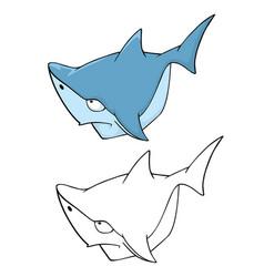 cute shark cartoon character vector image