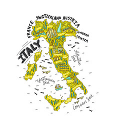 handdrawn map of italy vector image vector image