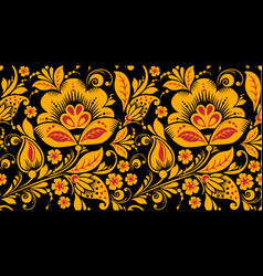 Hohloma seamless pattern in classic colors vector