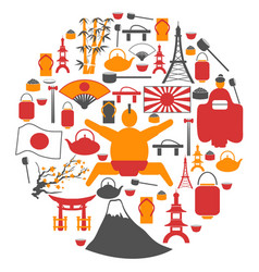 japanese collage circle symbol icons vector image