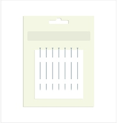 Sewing pins in product packaging vector image vector image