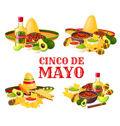 Cinco de mayo holiday icon of mexican food drink vector