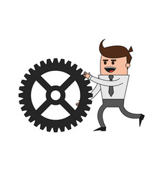 color image cartoon business man pushing a gear vector image vector image