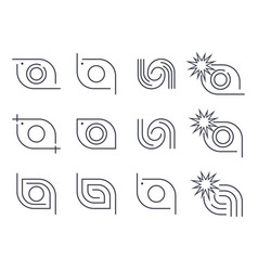 different camera logo icons set editable vector image