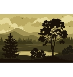 Mountains Trees and Lake vector image vector image