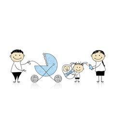 Parents walking with children baby in buggy vector image vector image