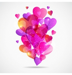 Valentines Day background with flying hearts vector image