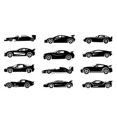 black silhouette of race cars sports symbols vector image