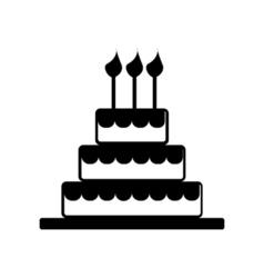 Cake Celebrate Icon Silhouette vector image vector image