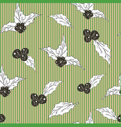 holly leaves and berries hand drawn sketch retro vector image vector image