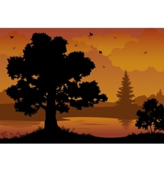 Landscape trees river and birds vector image