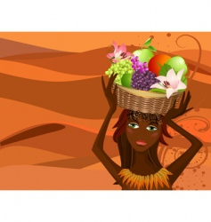 native with a fruit basket vector image