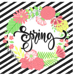 spring background with beautiful flowers greeting vector image