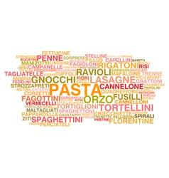 Types of Italian pasta vector image
