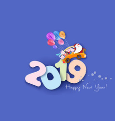 2019 happy new year design card with santa and pig vector image