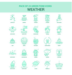 25 green weather icon set vector