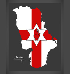 Antrim northern ireland map with ulster banner vector