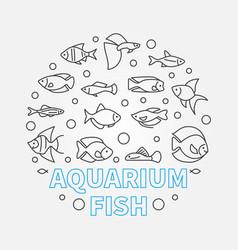 aquarium fish in circle shape vector image