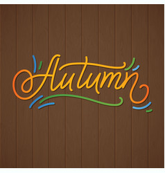autumn lettering hand written typography vector image