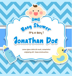 baby shower boy frame background vector image
