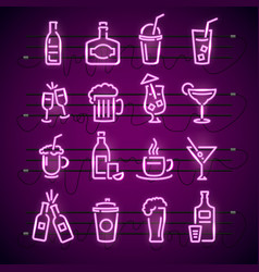 bar neon signs thin line icon set vector image