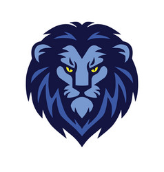 blue lion head logo design vector image