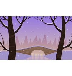 Bridge in the snow vector image